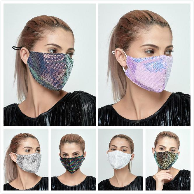 Bling Sequin Face Bling Mask Открытый Suncreen против пыли Дышащие промывные маски Поврежденные лицевые защитные маски для лица 8 цветов дизайнерская маска
