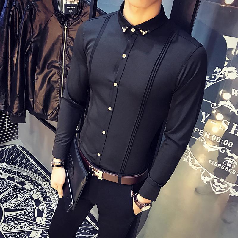 Neue Ankunft Herrenhemd Slim Fit Tuxedo Hemden Männliche Langarm Rot Schwarz Weiß Lässige Hemd Männer Plus Größe Kleidung