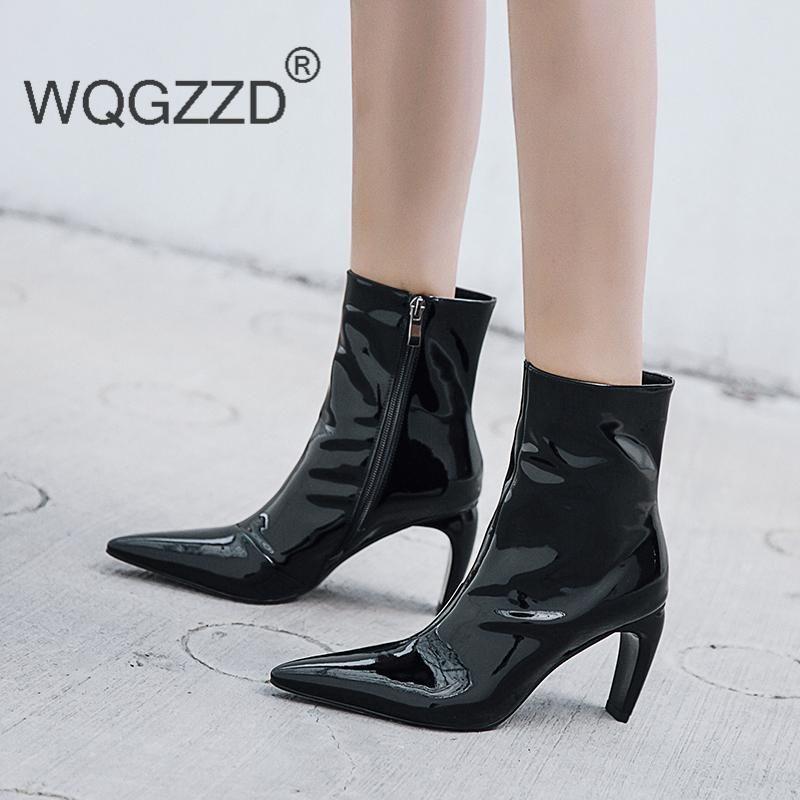 2020 Novos Saltos de Inverno Alto Sapatos Feminino Botas de Couro de Patente Botas de Couro Botas Motocicletas Femininas Plus Size 43