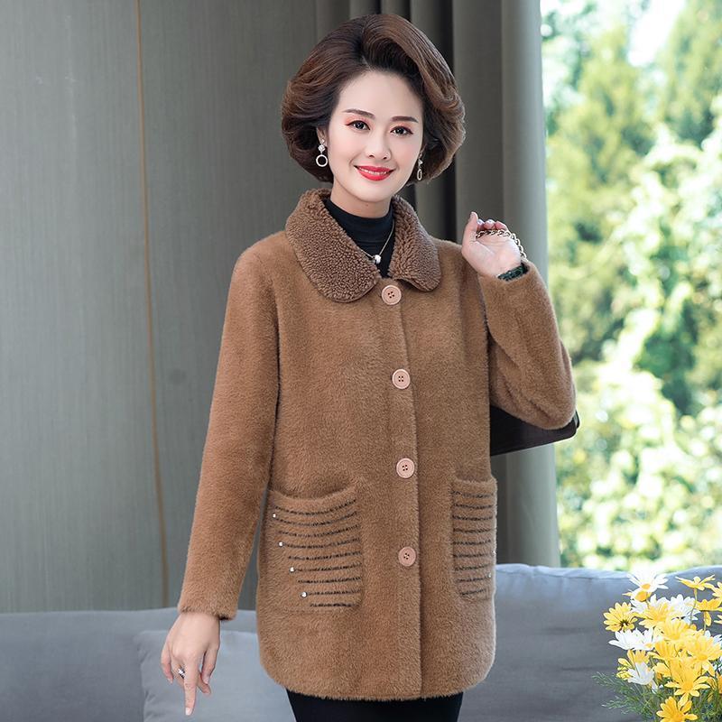 Женский мех из искусственного среднего возраста женщин мать зима теплая элегантная норка вниз шерстяная куртка пальто одежды одежды