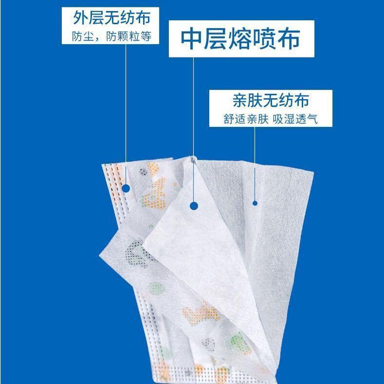 Maschera per bambini monouso Cartoon Stampa Protezione a tre strati, morbida e traspirante, contenente 10 pezzi del 90% di fusione soffiata
