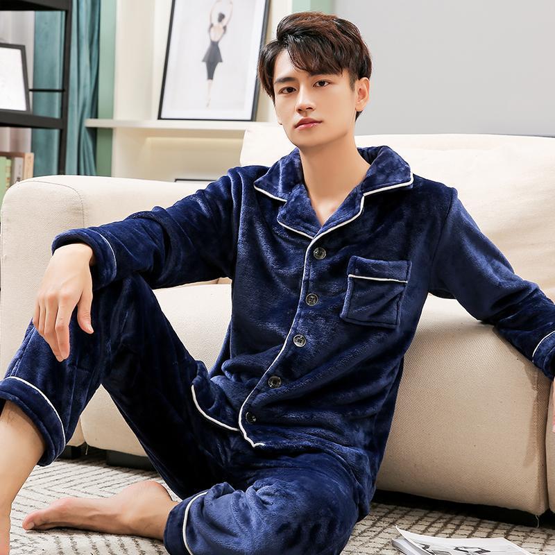 Зима ватка коралл пижама для мужчин Dormir Lounge Пижамы PJs Человек Спальни Главной Одежда Pijamas сгущает BedGown Теплой пижамы