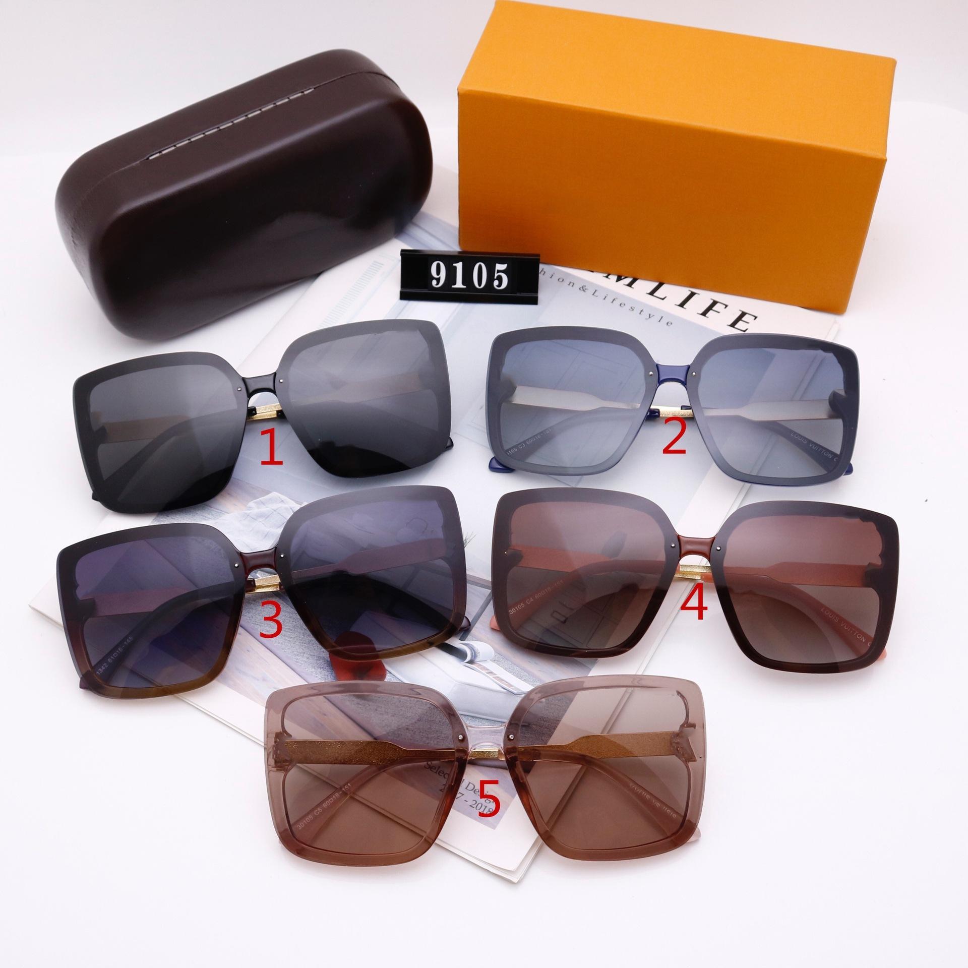 أزياء النساء النظارات الشمسية المصممين الفاخرة عالية الجودة hd الاستقطاب عدسات كبيرة الإطار السيدات القيادة نظارات 9105