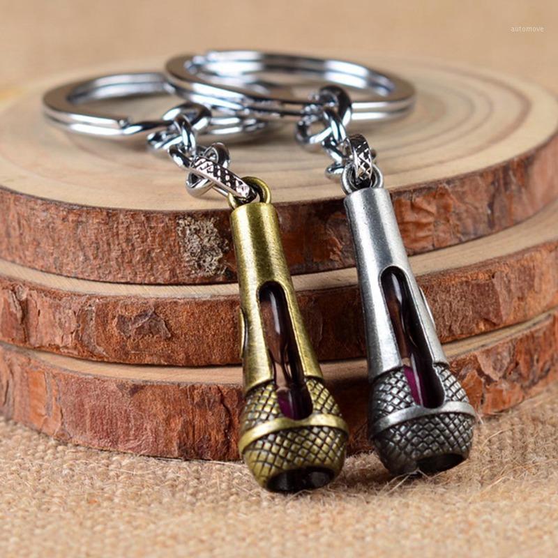 Горячая певица микрофон струны брелок творческий металлический сплав музыкальный микрофон голос шарм кулон брелок ключ цепь1