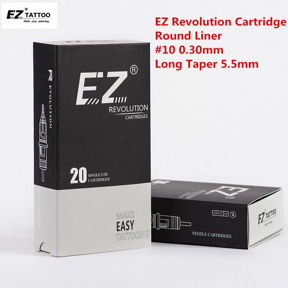 EZ Devrimi Kartuş Dövme İğneleri Yuvarlak Liner # 10 0.30mm Uzun Konik 5.5mm Kartuş Dövme Makinesi ve Kavrama için 20 adet / grup 201124