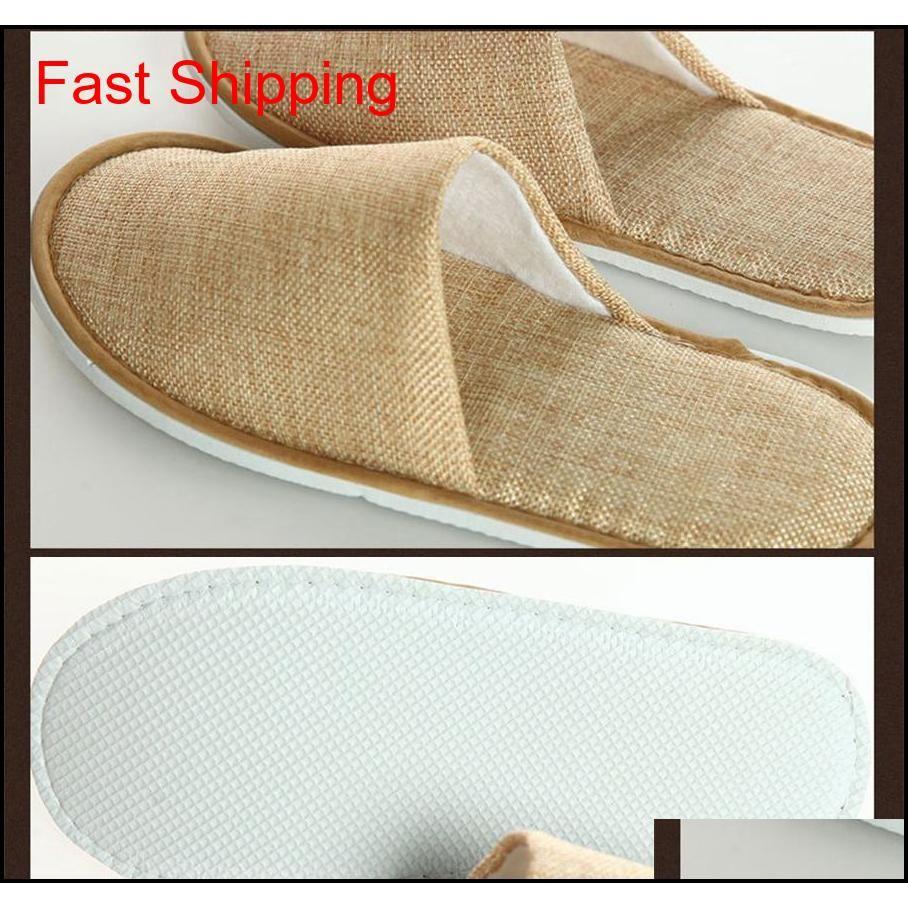 Confortável Respirável Soft Descartável Chinelos Home Guest Shoes Amarelo Cinza Hotel Spa Anti-Slip Algodão Linho Dispositivo Jllfdw Home003