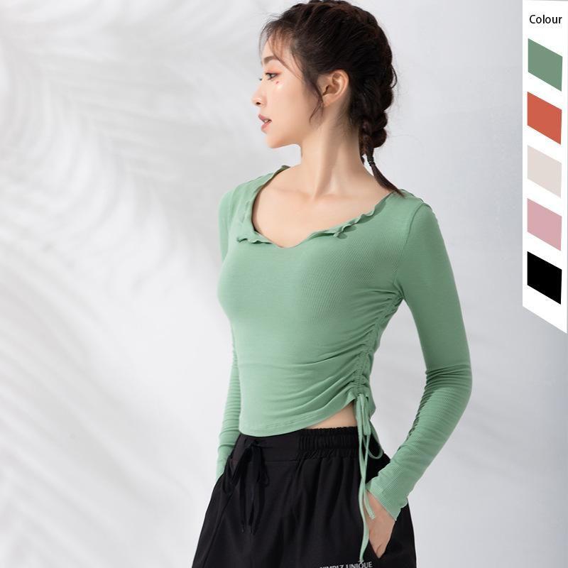 Kadınlar için Yüksek Sıkı Egzersiz Gömlek Uzun Kollu Spor Yoga Top Spor Gömlek Spor Giyim Giyim Spor Giyim