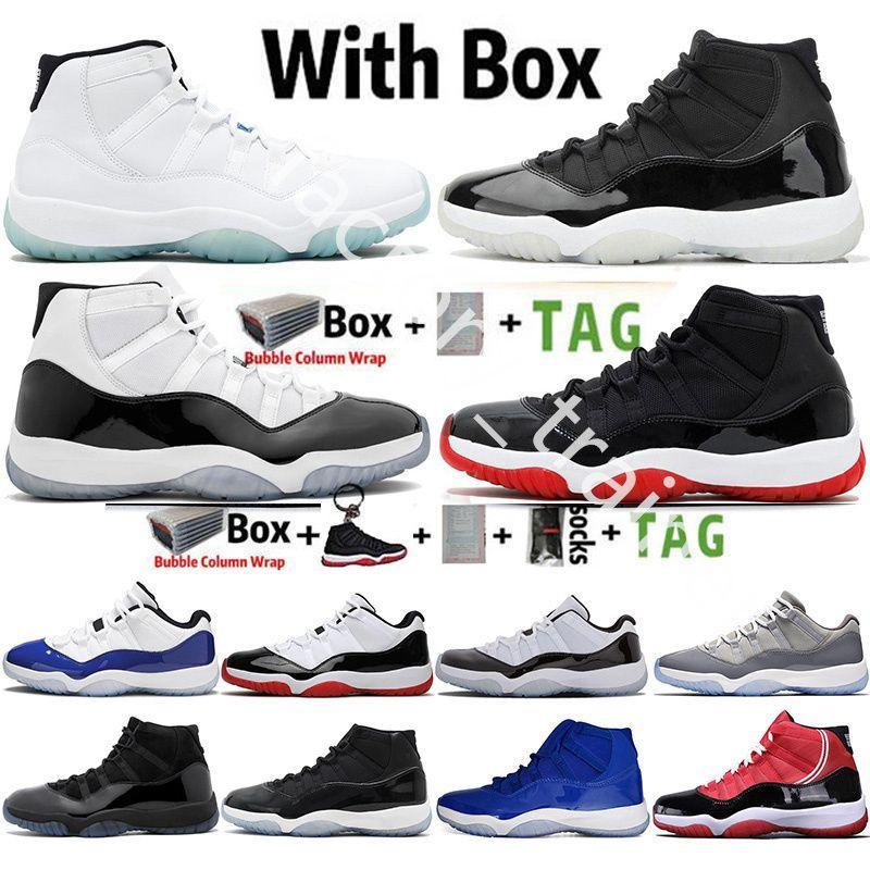 !공기! 25 주년 기념 11 개 남성 농구 신발 Jumpman은 낮은 콩코드 UNC 11S 모자와 가운 전설 블루 남성 여성 레트로 스포츠 운동화 사육
