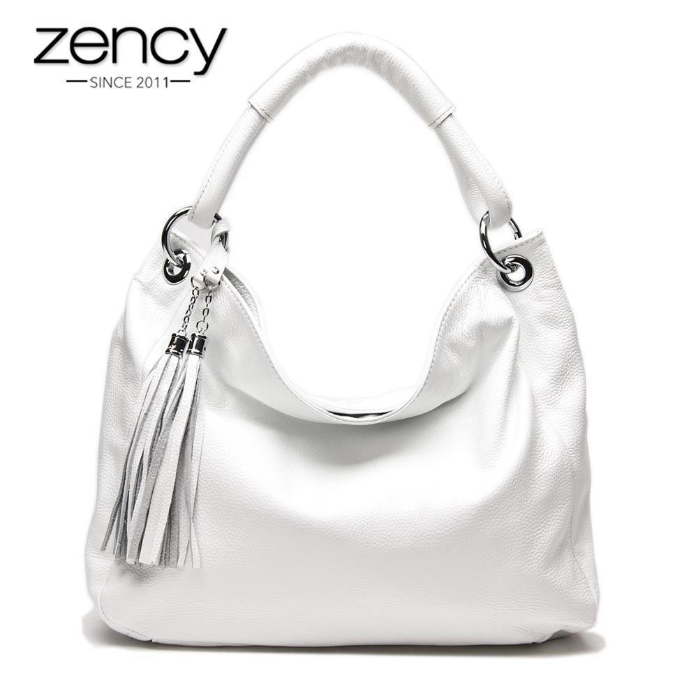 Zycy 100% Soft authentique Tassel Tassel Sac à main pour femme Noir Blanc Sac à bandoulière White White Messenger Saulettage Butensif