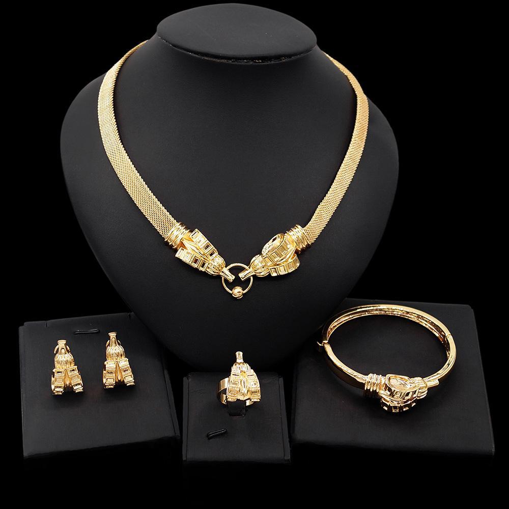 YULAILI TRENDY DUBAI DUBAI GOLD COLLIÈRE Boucles d'oreilles Bangle Bague Fashion Nigérian Mariage African Bijoux Ensembles Femmes Bijoux Ensemble En gros