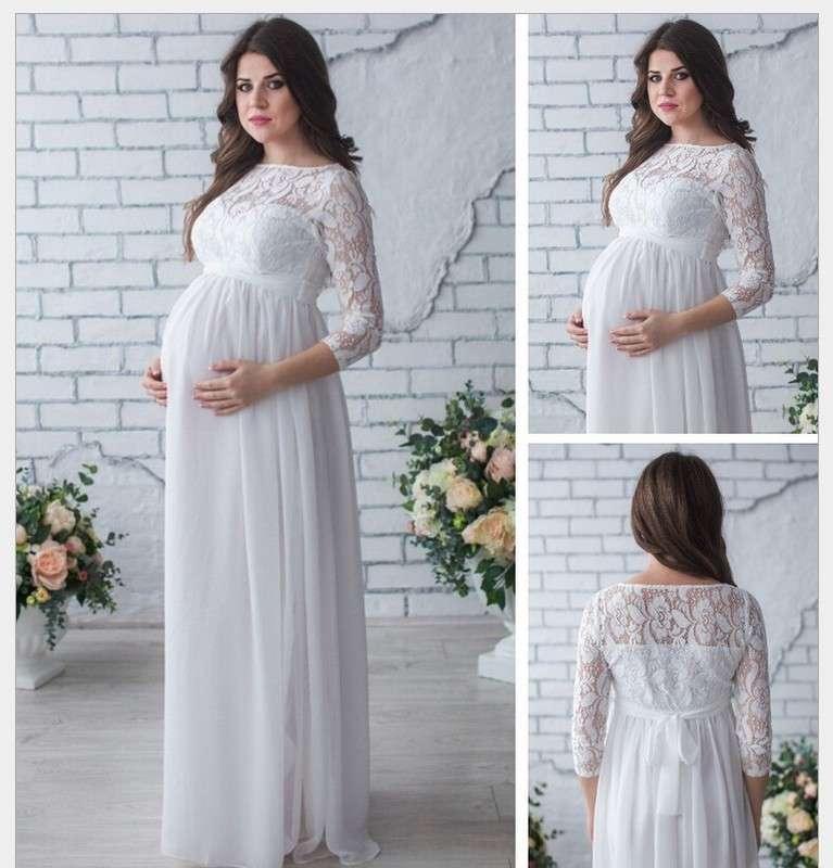 Primavera e verão em torno do pescoço Nine Point Sleeve Lace Maternity Dress