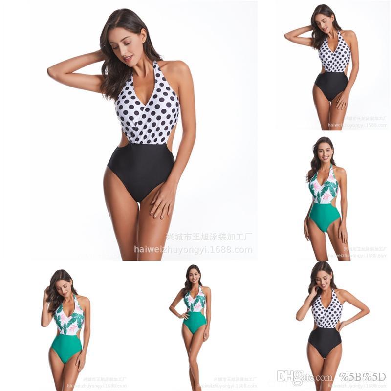 D88J INGAGA Designer tagliato Onswimsuit One Shoes Swimwear Swimming Solid Bandage Costumi da bagno Donna Alta qualità Donne Vestita Sexy Nuovo