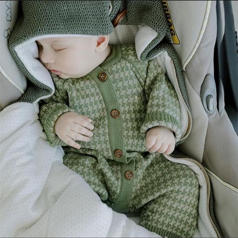 Gestrickte Neugeborene Baby Kleidung Baumwolle Herbst Winter Baby Strampler mit Plaid Hut Kind Kleinkind Jumpsuit Für Mädchen Jungen Onesie Set 201216