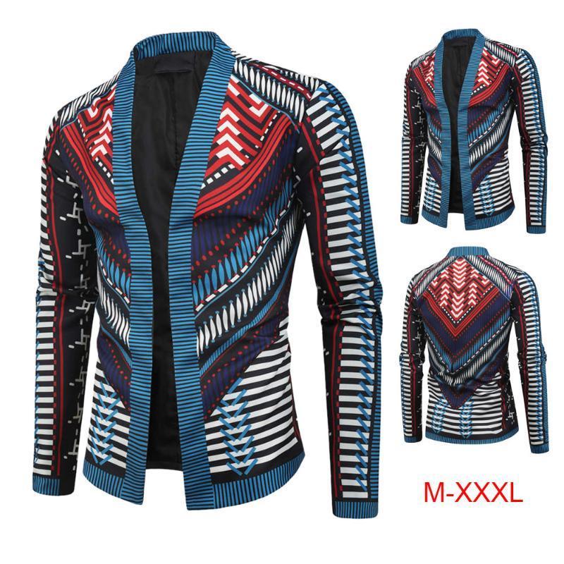 Marca Homens Casaco 2020 Moda Estilo Nacional Impresso Casaco de Manga Longa Casaco África Roupas