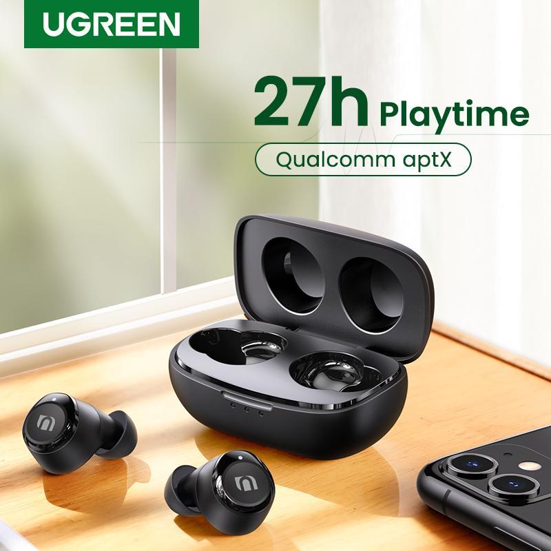 Ugreen TWS Wireless Bluetooth 5.0 Écouteurs Qualcommomm APTX VRAI SANS SANS SIERÉO STEREO EARBUDS 27H Playtime USB-C Charge