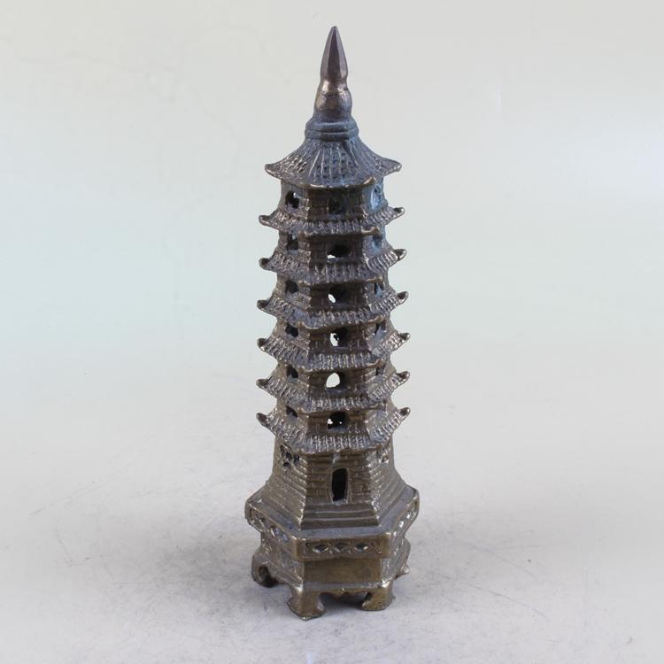 Китайская античная латунная башня модельная статуя TH147