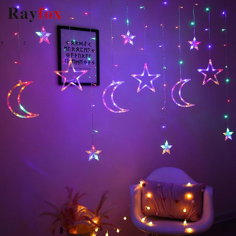 2020 décorations de Noël pour la maison Snowflake Star Moon String Light LED Tree Sapin de Noël Décor Xmas Cadeau Rideau Garland Navidad Y1125