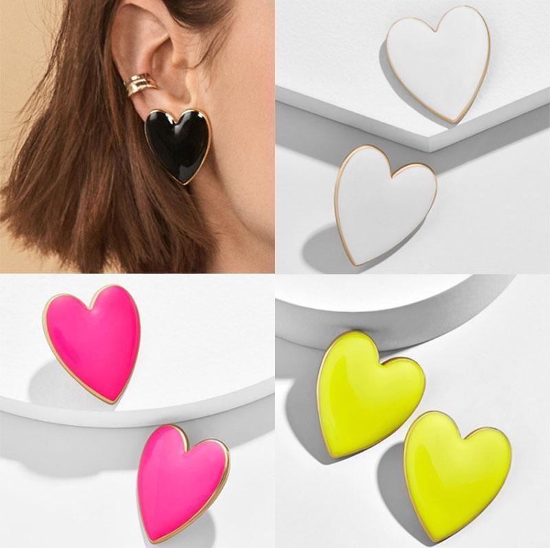 Exagerate Color Color Color Heart Charm Pendiente de Moda Esmalte de Moda Chapado en oro Amor Heart Stud Lujo Hermosa para las mujeres Lady Jewelry Regalos