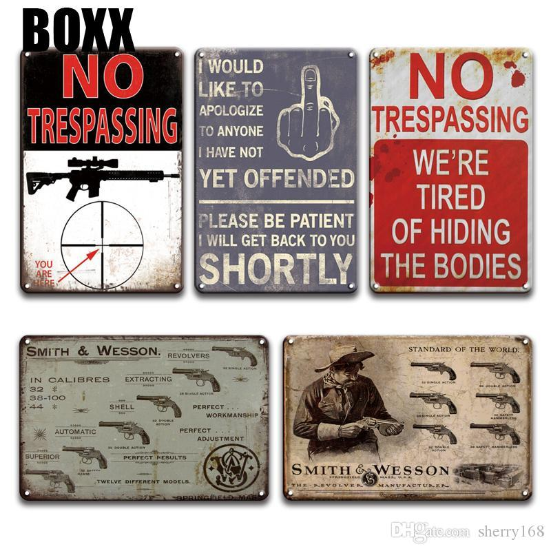 WARNING NO TRESPASSING Metal Sign Vintage SMITH N WESSON Tin Signs Farmhouse Decor Chic Weapon Shop Living Room Home Decor