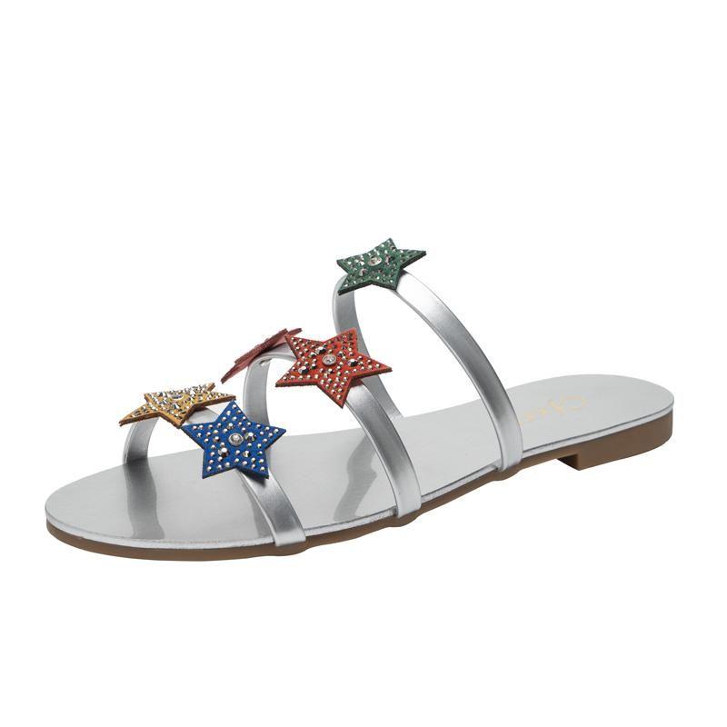 Yaratıcı Kadın Terlik Yıldız Dekorasyon Kız Sandalet Rhinestone Şeker Renk Çevirme Artı Boyutu 42 Kapalı Açık Ayakkabı