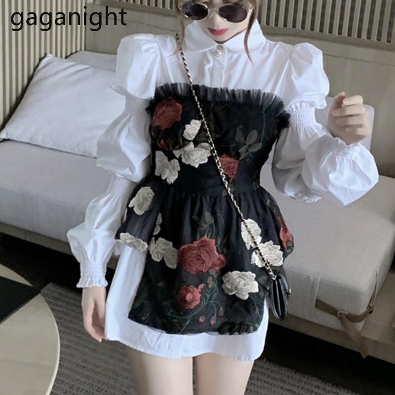 Gaganight moda mulheres mulheres dois pedaços conjunto branco camisa de manga comprida camisa vintage bordado flor tube terno 2 peças definir dropshipping 201119