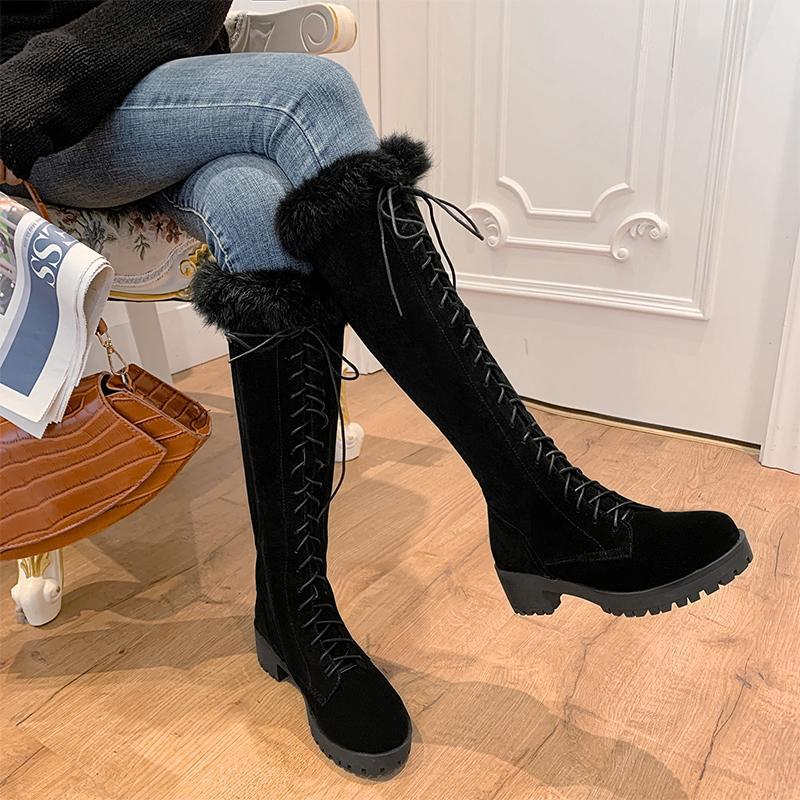 여성 무릎 높은 부츠 여성 레이스 최대 여성 캐주얼 신발 큰 크기 여성 플랫폼 라운드 발가락 신발 숙녀 따뜻한 봉제 중반 힐