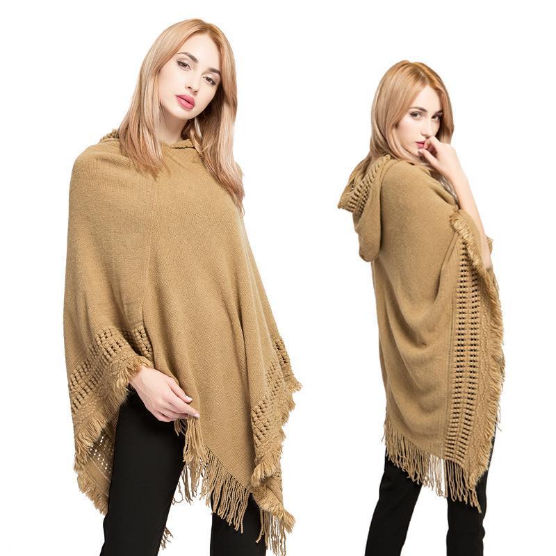 Châle d'automne et d'hiver Cloak Femmes Tassel Grande Taille Acrylique Encadré en extérieur Décoration d'extérieur Cardigan chaud Accessoires pour adultes