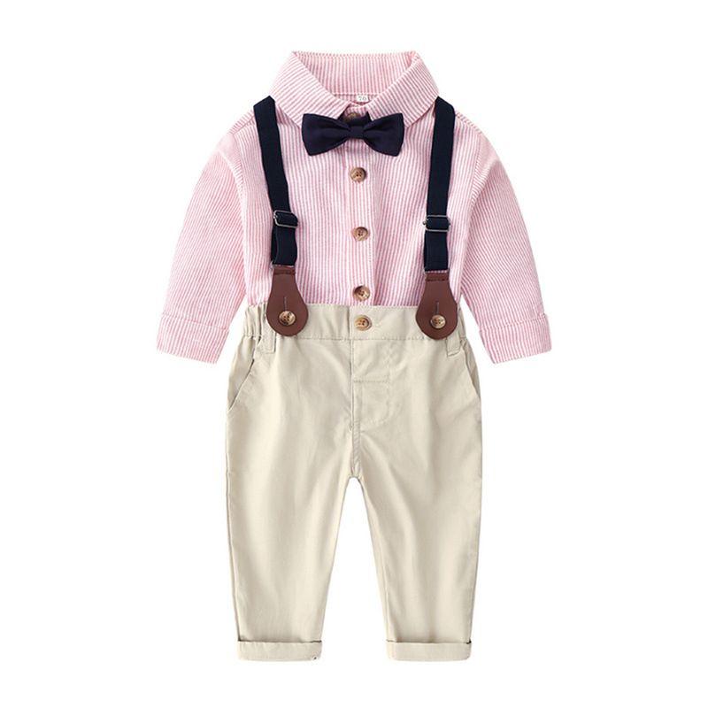 Giyim Setleri Sonbahar ve Kış Bebek Suit Çocuklar için Uzun kollu Gömlek Ve Tulum Çocuklar Için İki Parçalı Suit