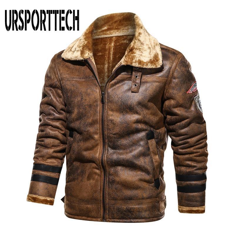 Autumn Winter Mens Leather Jacket 2020 New Plus Velvet Lapel Fashion Motorcycle Jacket Warm PU Faux Fur Thicken Coat Men Outwear H1210