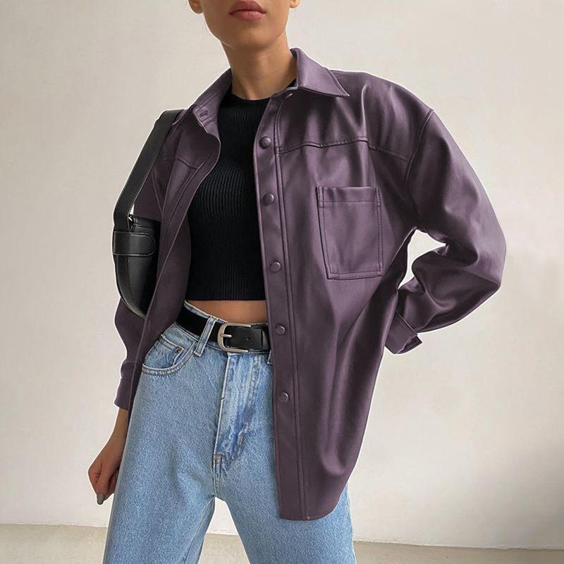 Giacche da donna Bottone di risvolto per la risvolto della moda Casual Donne Plus Size PU in pelle PU Black Solid Women 2021 Cappotti a maniche lunghe