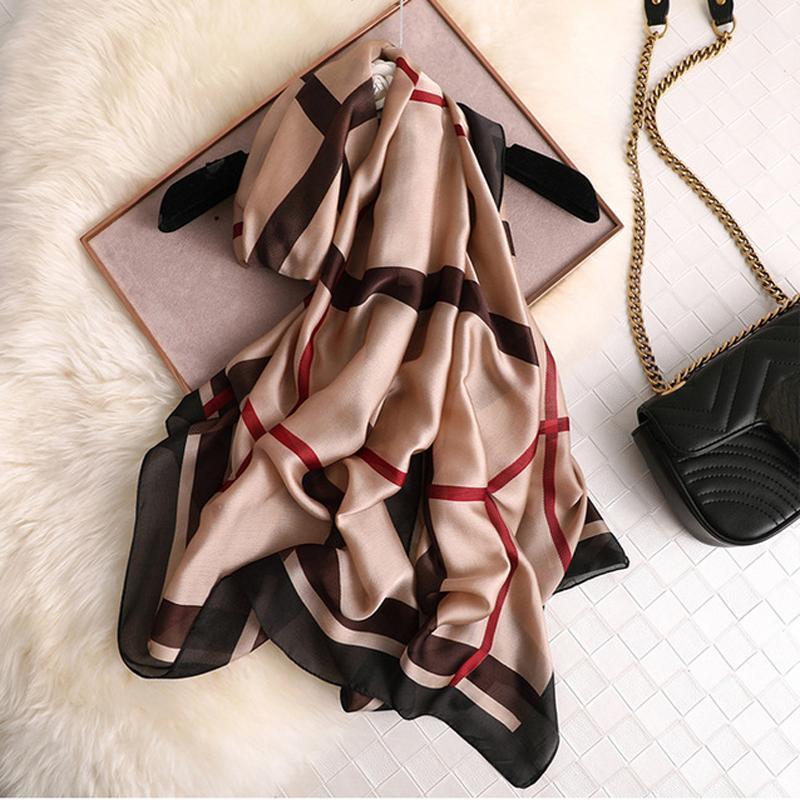 Высокое качество шелковый шарф Марка Дизайнер Foulard Бандана Длинные Lrage Шали Wrpas Зимняя шарфы Lady хиджаб Платки