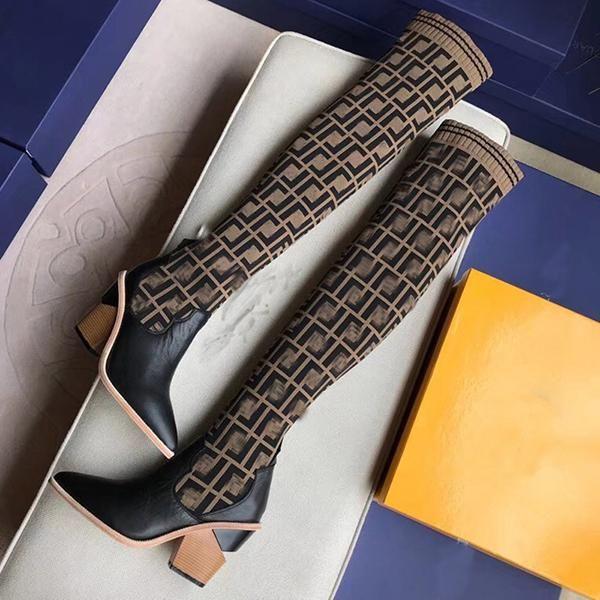 Lüks 2021 Yeni Moda kadın 22 inç Örme Çorap Çizmeler 9.5 cm Kadın Uyluk Yüksek Nefes Yüksek Elastik Çizmeler Sivri Burun Kısa Hee