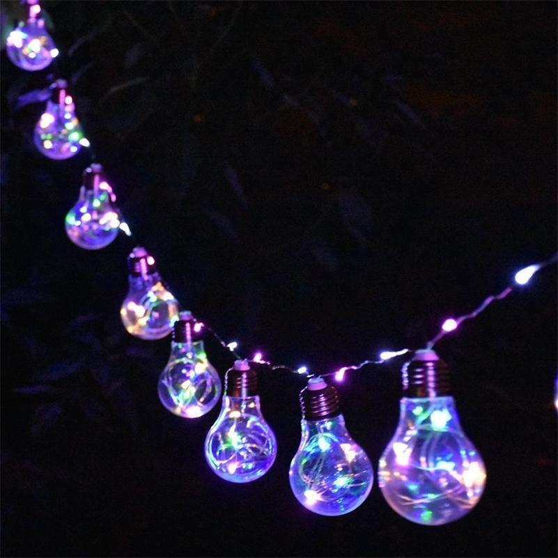 Dekoration für Hausgarten Hinterhof Wedding Party Kreative Globus Klarer Glühbirne LED Fairy Lampe Kupfer Wire String Lights 201128