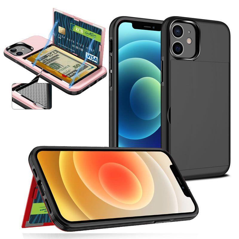 Manyetik Görünmez Standı Telefon Kapak iphone 12 Mini 11 Pro Max SE 2020 XR XS 7 8 Artı Cüzdan Kart Durumda