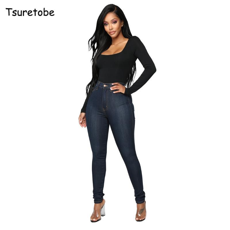 Tsuretobe Moda Yüksek Bel Denim Kalem Pantolon Kadın Bodycon Elastik Uzun Kot Ince Lady Rahat Sıska Pantolon Düğme Kadın