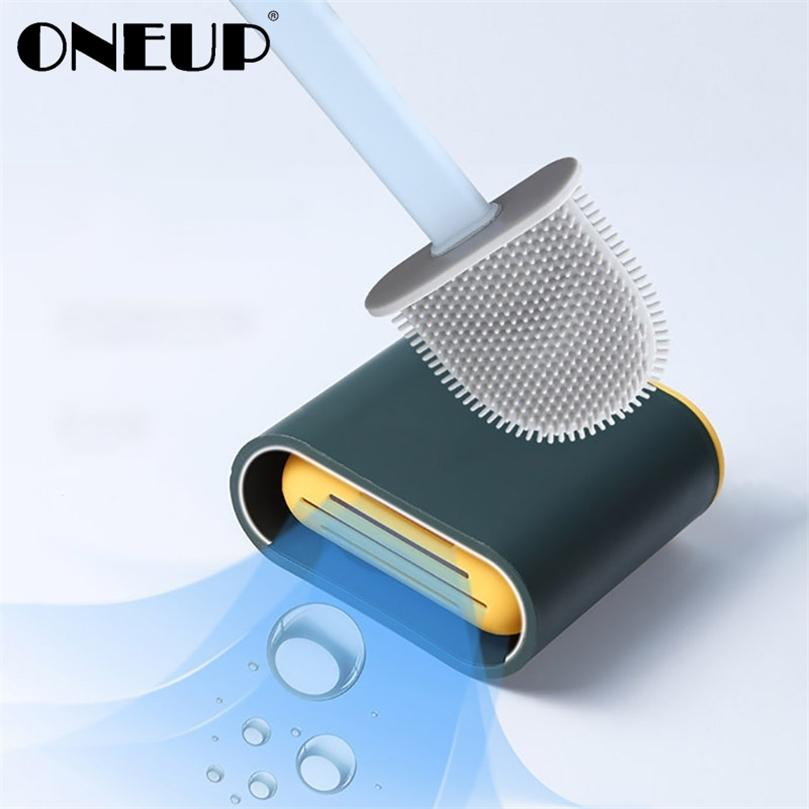 Oneup Silicone WC Pincel de Banheiro Cabeça Flat Chão Escova de Limpeza para WC Acessórios de Banho Casa Ferramenta de Limpeza Com Base de Drain 201214