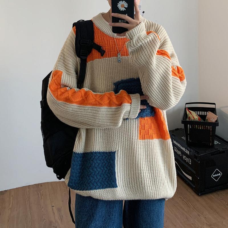 Neploha 2020 Осень Зима Мужчины Лоскутная Теплый свитер Сыпучие женщина случайные пары Свитера Пуловеры Негабаритные Уличная