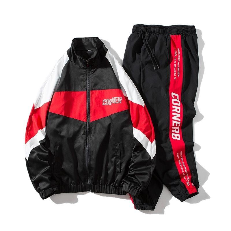 Мужской хип-хоп трексуита Мужская одежда 2 штуки наборы мужские уличные жеватели и гарем брюки ABZ551 201109