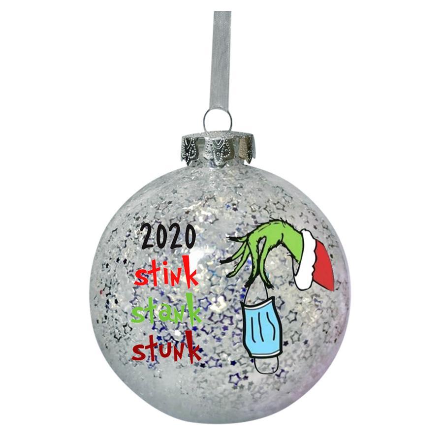 2020 Stote Stink Stunk Christmas Ball Grinch Mano Navidad Árbol de Navidad Decoración Bola Chuchería Plata PVC Colgando Adornos Decoraciones