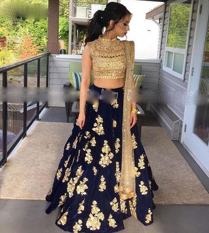 Deux pièces Robes de soirée bleu marine pour Femmes Parti Gold Dentelle Applique Indian Prom Robes Robe de Soirée de Mariage