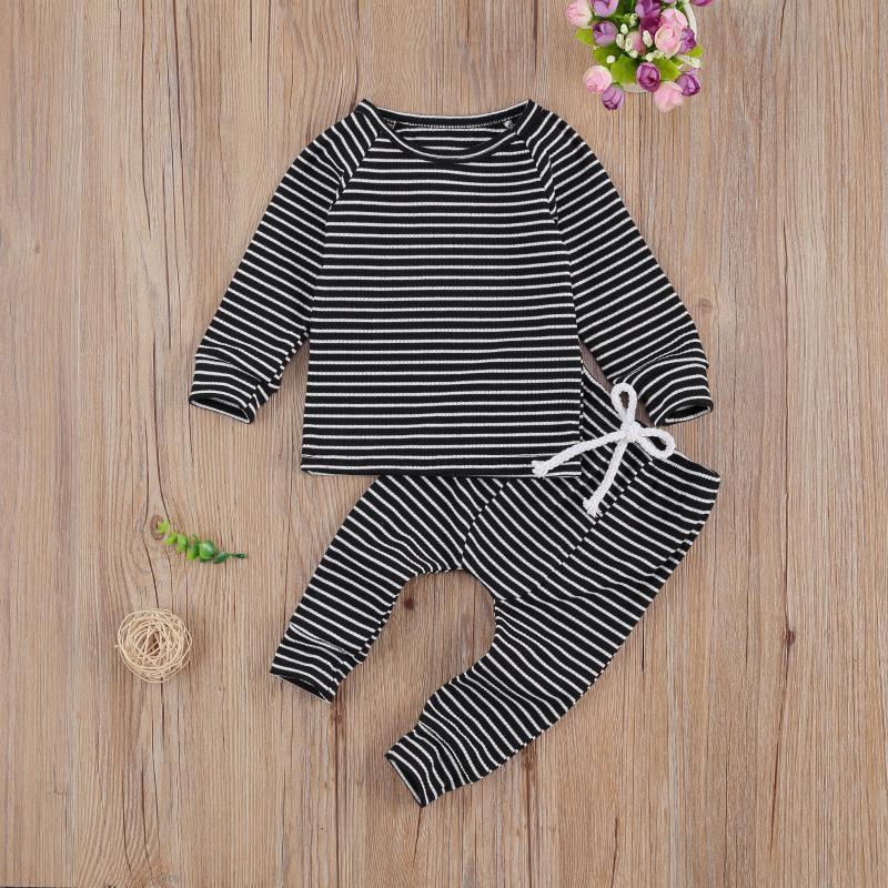 Casual 0-24M Infant Baby Girl Boy Fall Clothes Striped Print Long Sleeve Sweatshirt+Drawstring Harem Pants 2pcs
