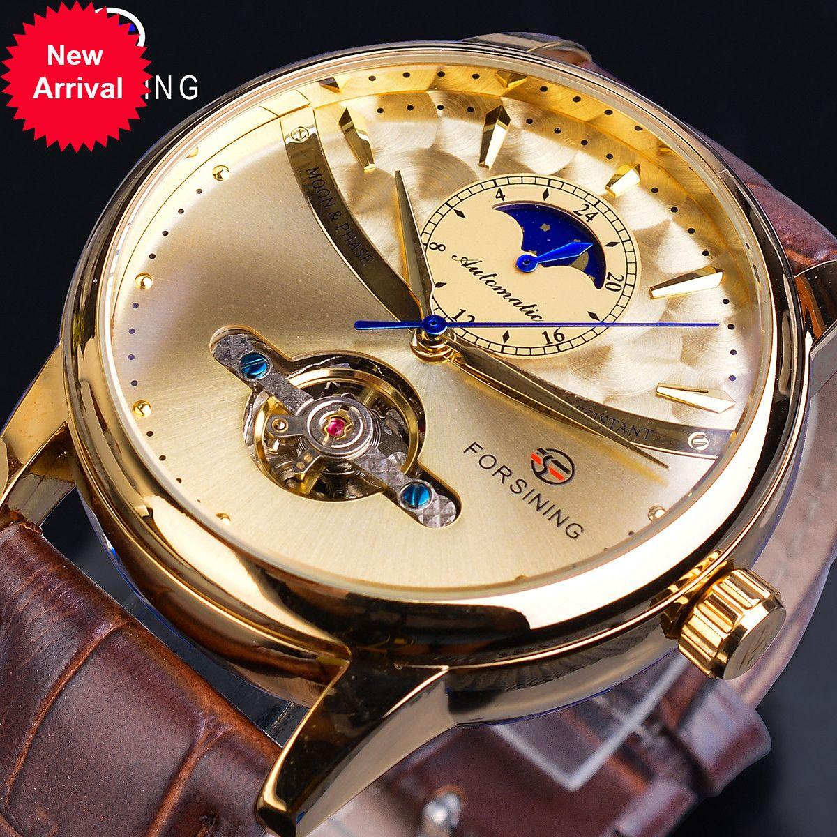 Forsining Phase de lune Montre automobile Royal Hommes Golden Imperméable Montre-Bracelet Mécanique Casual Tourbillon Tourbillon Tourbillon