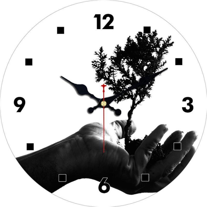 Relógios de parede Árvore à mão Relógio, Relógio chique, Relógio de madeira para sala de estar Quarto de estudo, silencioso