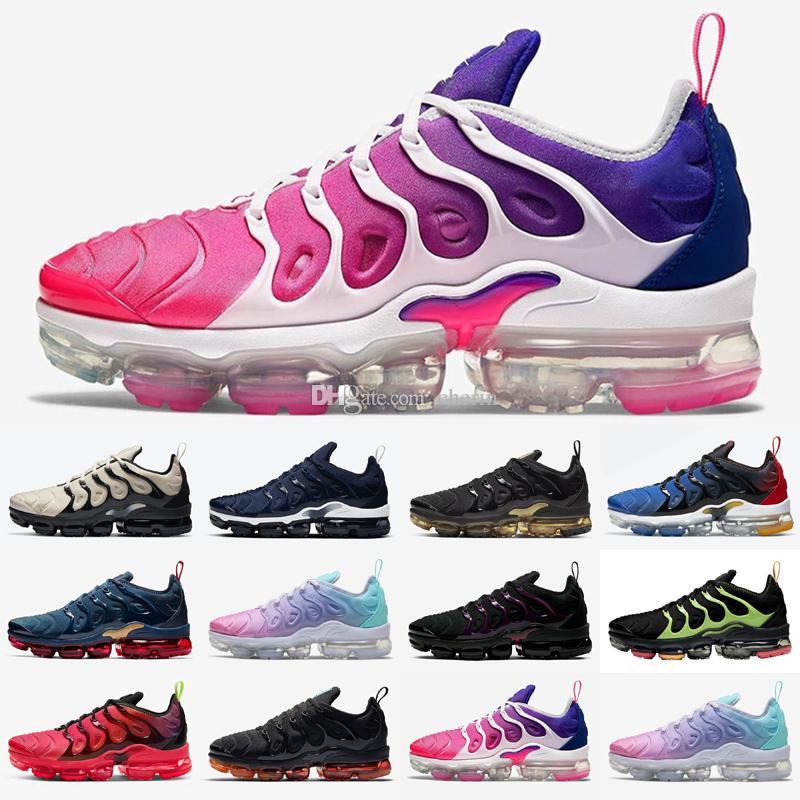 Yeni Erkekler Kadınlar Artı TN Koşu Ayakkabıları Siyah Elektrikli Yeşil Metalik Altın Kıyı Mavi Pembe Deniz Gerçek OG Mens Açık Sneakers 36-47