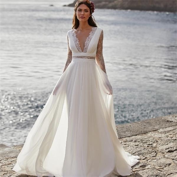 Богемное свадебное платье 2021 с длинным рукавом V-образным вырезом длина полов шифон A-Line кружева спины свадебные платья с поясом очаровательный для женщин Q1113