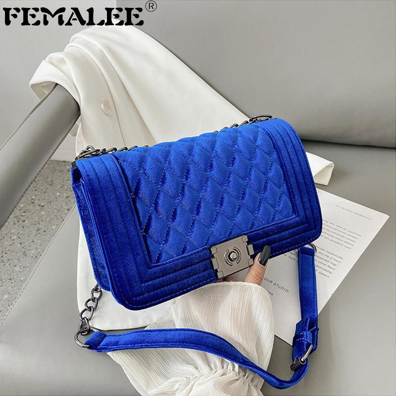 Luxury Velvet Chain Flap Messenger Bag For Women INS Fashion Diamond Lattice High Quality Handbag Embroidery Thread Small Totes Q1208