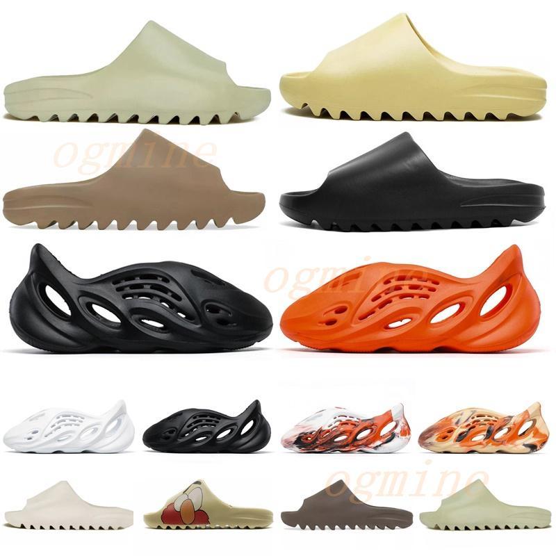 [ASAP Gönderen] Kanye Sandalet Ayakkabı Köpük Koşucu Siyah Batı Slayt Kemik Reçine Çöl Kum Earth Kahverengi Erkek Bayan Terlik # 2021 #