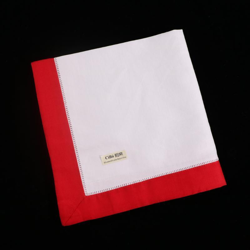 N037-R-20: 12pieces White Hemstitch Dinner Napkins Red hem Ramie Cotton Blend Ladder Hemstitch table linen