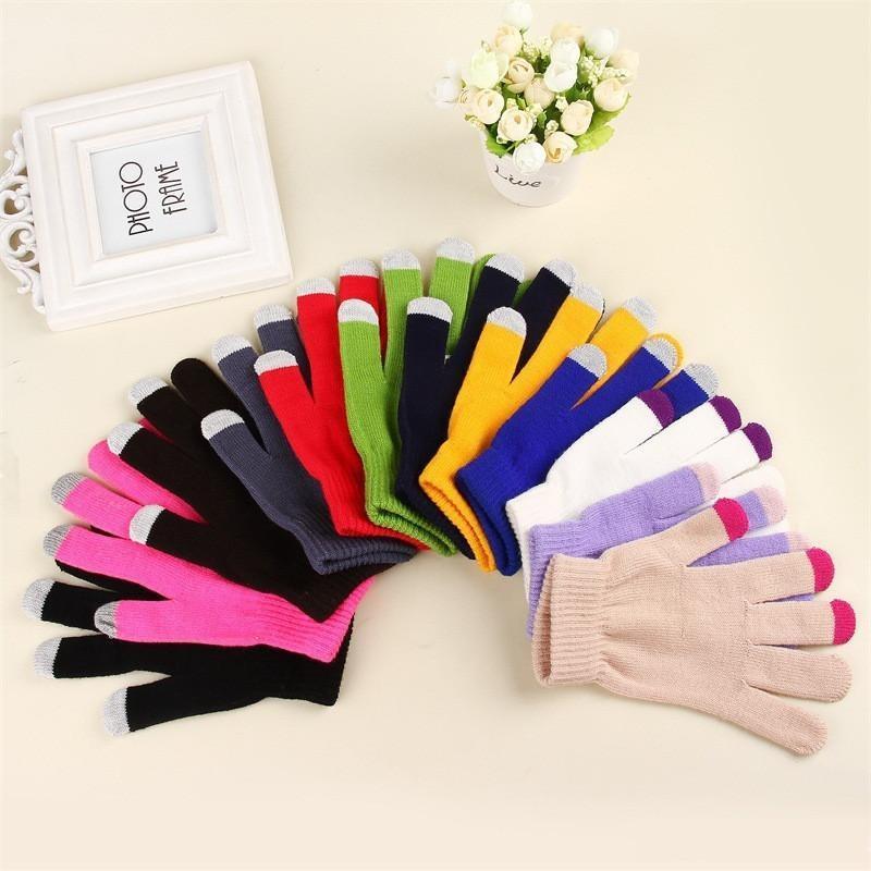 Sihirli dokunmatik ekran eldiven örme manifatura streç yetişkin bir boyutu kış sıcak tam parmak dokunmatik ekran eldiven xmas hediyeler ooe2