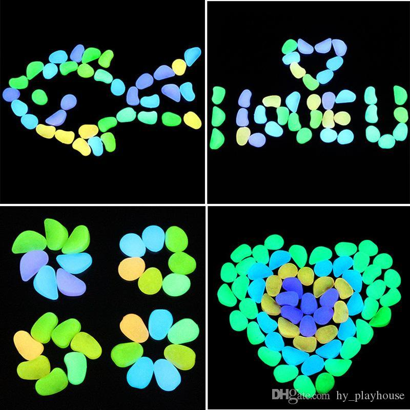 XMY 100 unids / bolsa resplandor en las piedras de piedras luminosas oscuras para acuario boda noche romántica eventos festivos eventos jardín decoraciones artesanales juguetes